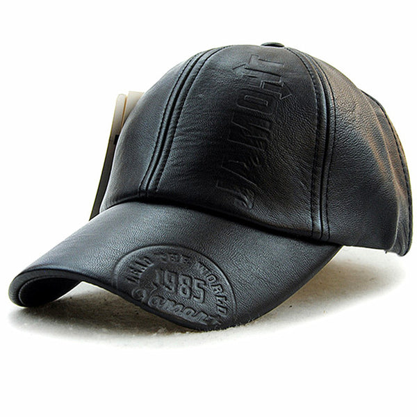 New fashion high quality Men leather Cap, Casual snap back hat.
