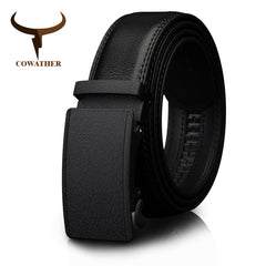 Automatic Ratchet Leather Buckle Belt .
