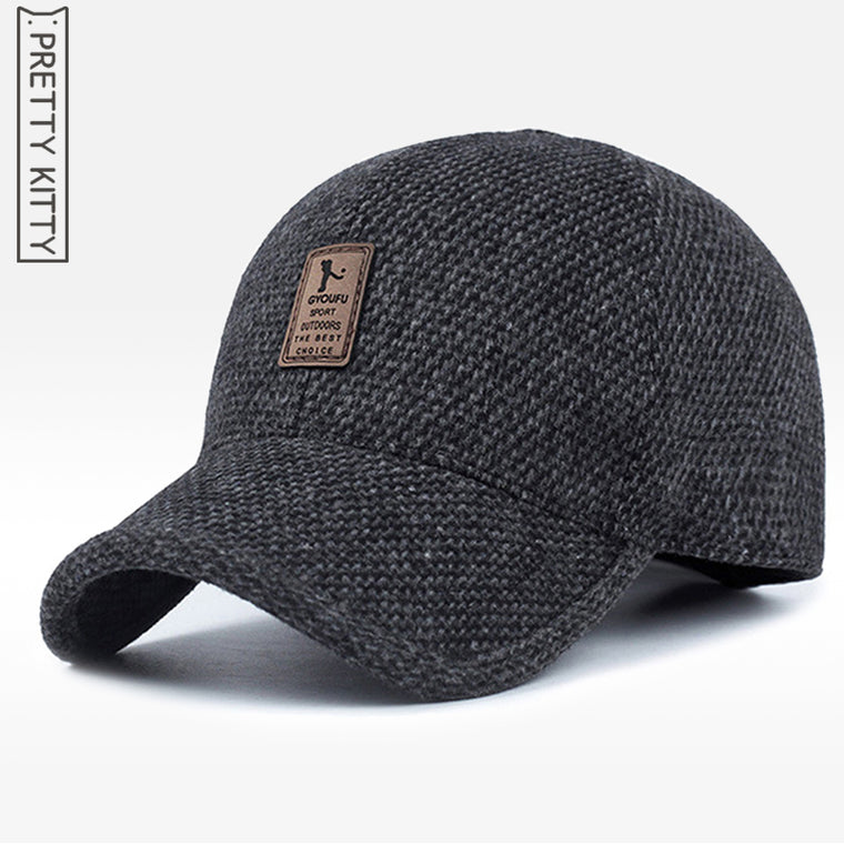 Men'S Warm Thickened Baseball Cap, With Ear flaps, Cotton Hat.