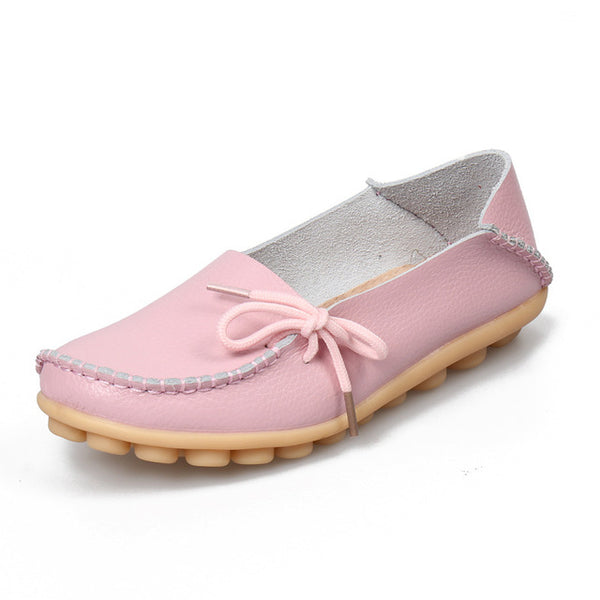 Soft Leisure Flats Women Leather Shoes Mother  Casual