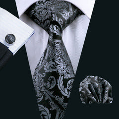 Men`s Tie, Black  100% Silk, Classic Barry Wang, Hanky Cufflinks Set For Groom Formal Wedding Party.