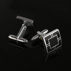Men`s New Simple Style Black Rectangle Cuff links, Shirt Cuff Button Laser Plating.