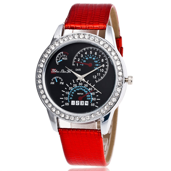Fashion Luxury Woman Watch, Leather Band, Analog Quartz Watch.