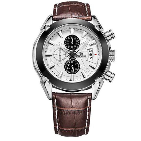 >>Elite Men's Quartz Watch, Leather Business Watch.<<