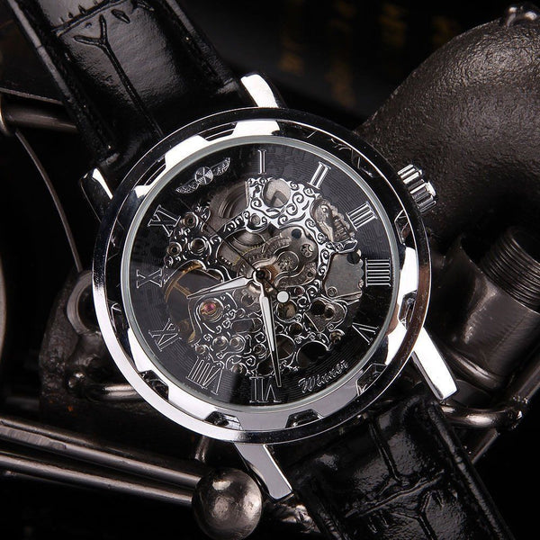Classic Men's Black Leather Dial Mechanical Sport Army Wrist Watch.