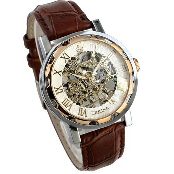 Luxury Mans Leather Band Stainless Skeleton Mechanical Wrist Watch.