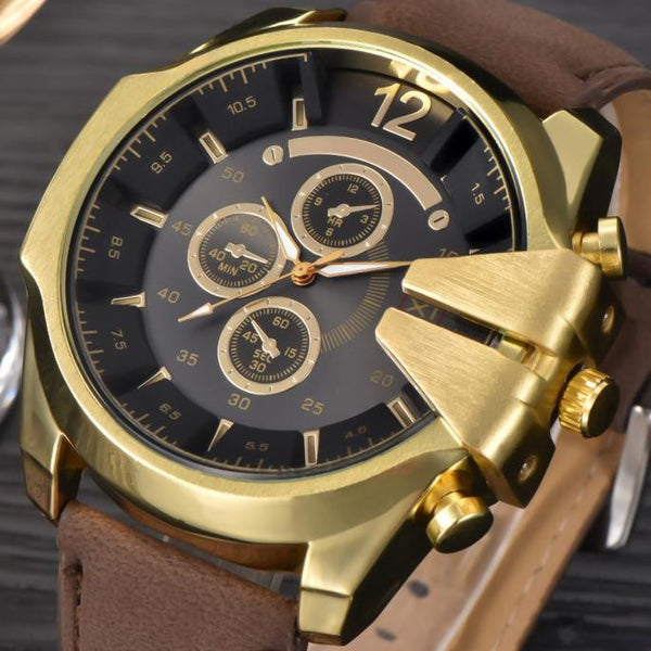 Men's Watch Leather band Stainless Steel Quartz  Wrist Watch Sport.