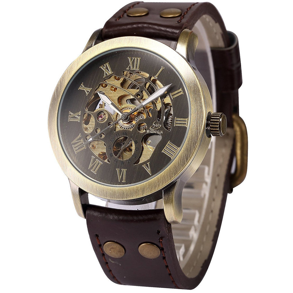 Men's Bronze Self-Winding Auto Mechanical Leather Wrist Watch.