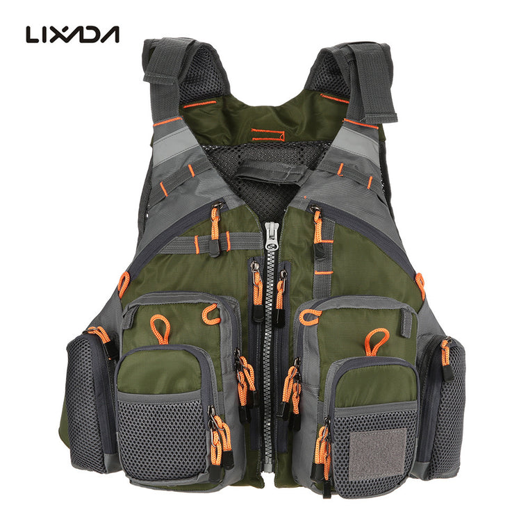 Men Outdoor Sport Fishing Life Vest, Breathable Swimming Life Jacket, Safety Waistcoat Survival, Utility Vest.
