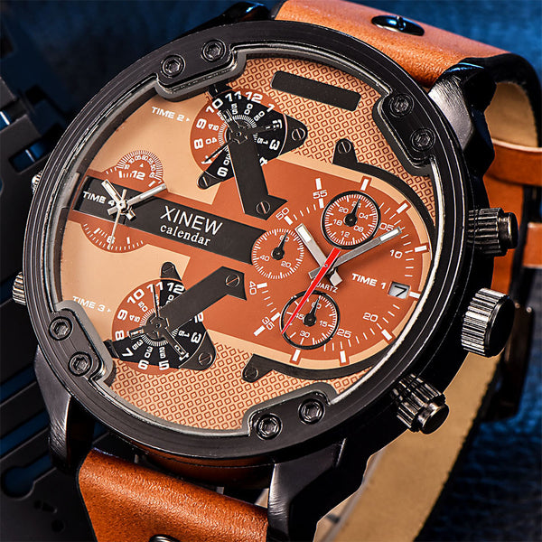 Men's Fashion Luxury Watch, Leather Quartz Sport,