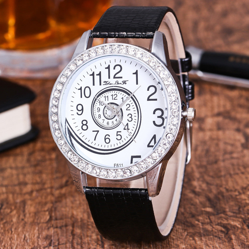 Female Fashion Temperament, Leather Belt With Simulated, Quartz Round Watch