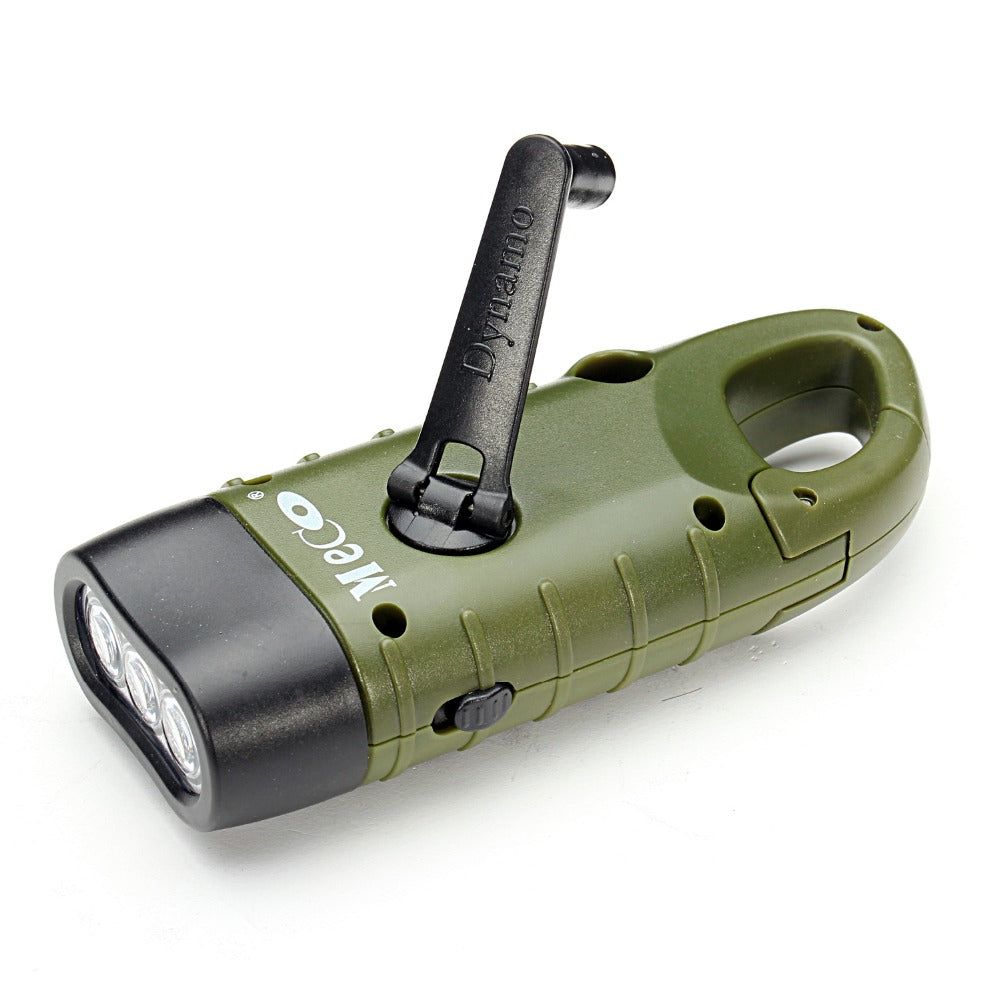 Outdoor Camping, Mini Emergency Hand Crank Solar Flashlight, Rechargeable LED Light.