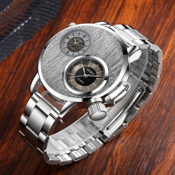 Fashion Man Men`s Crystal Stainless Steel Analog Quartz Wrist Watches.