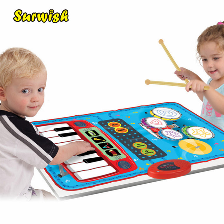 2 In 1 Mini Battery-powered Drum Piano Musical Touch Play Mat