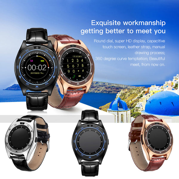 Heart Rate Blood Pressure Monitor Slot Wrist Waterproof Bluetooth Smart Watch.