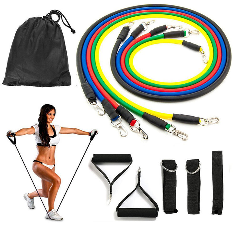 11pcs/set Women Pilates Pull Rope Fitness Resistance Bands Workout Latex Tube Exercise.