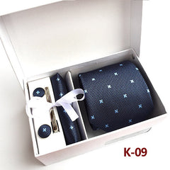 Ensemble Silver Paisley Man Tie, Handkerchief, Pin and Cuff links Gift Box Packing Many Color.