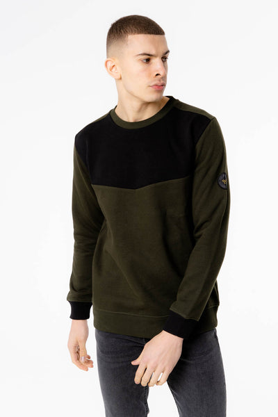 Report Crew Neck Sweat in Green Black