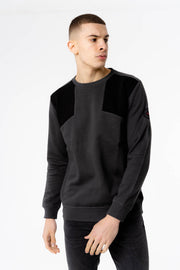 Europa Crew Neck Sweat in Charcoal Black