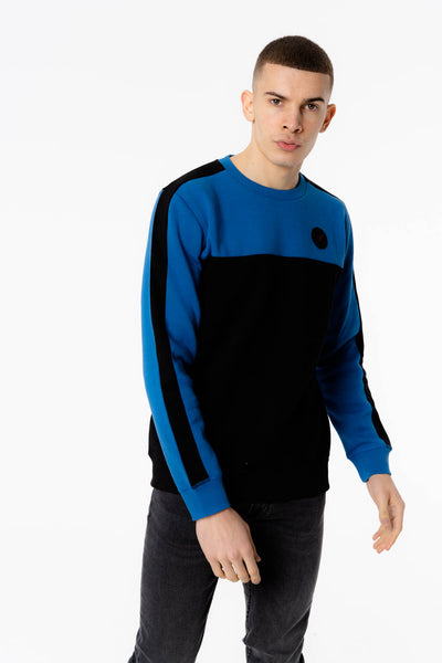 Tethys Crew Neck Sweat in Black Blue