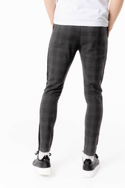 Grey Check Pant With Black Piping