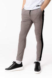 Red Check Pant With Black Piping