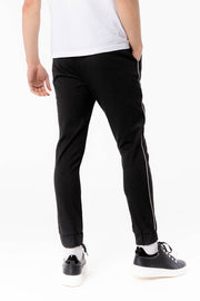 Bi Stretch Charcoal Trousers With Piping
