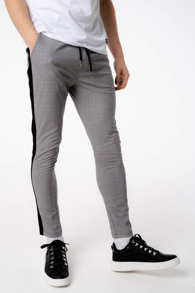 Blue Check Pant With Black Piping