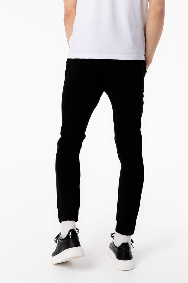 Black Bi Stretch Pants With Piping