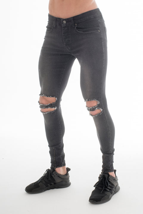 Gears Black Skinny Fit Ripped Jeans