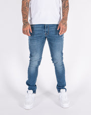 Fondi Mid Wash 5 Pocket Tapered Denim Jeans