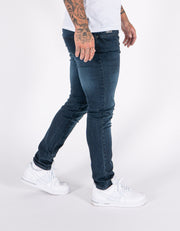 HJ 8600 Blue Black Tapered Stretch Denim Jeans