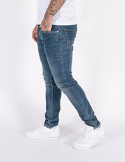 HJ 8630 Heavy Stone Wash Tapered Stretch Denim Jeans