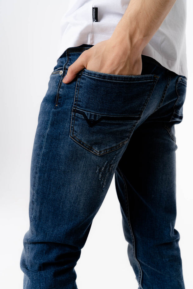 Harvey HJ 8650 Tapered Stretch Mid Blue Rip Jean