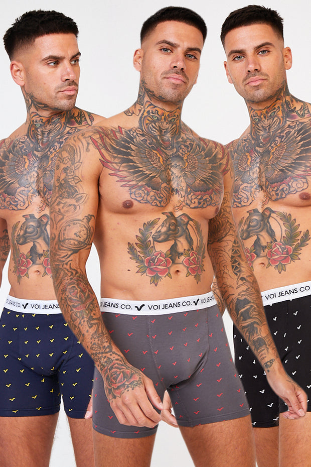 3 Pack Boxers - Navy / Grey / Black