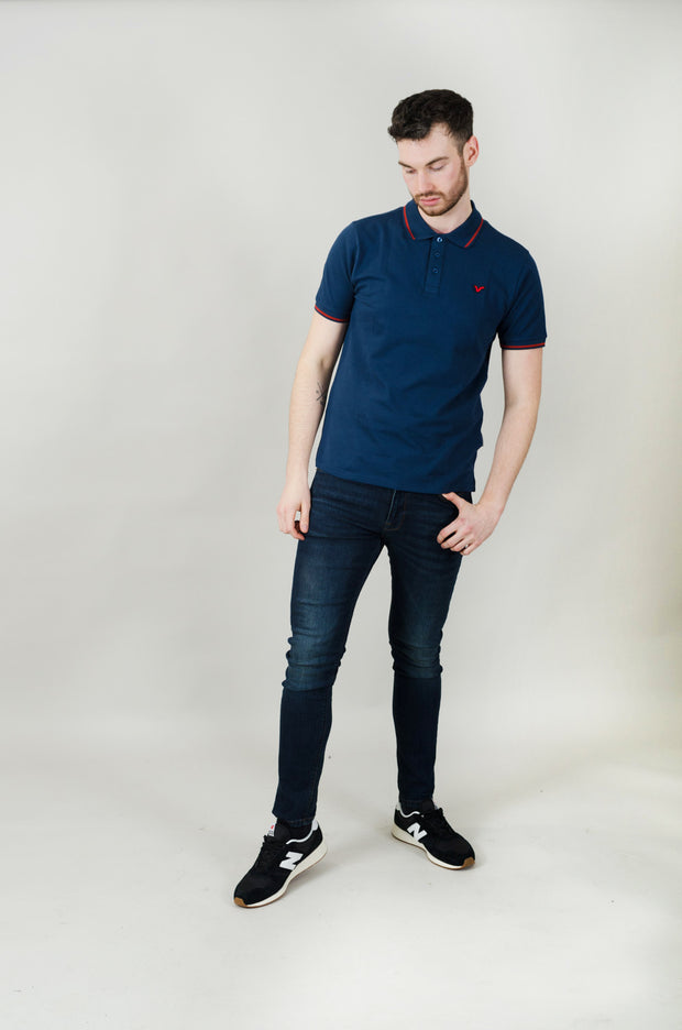 Cable Contrast Tipping Polo - Navy