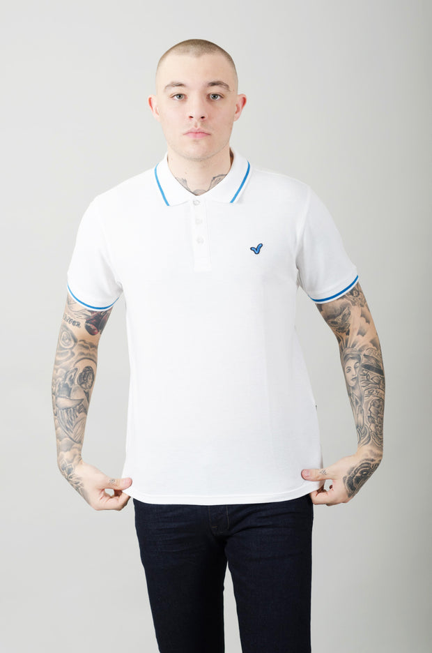 Cable Contrast Tipping Polo - White