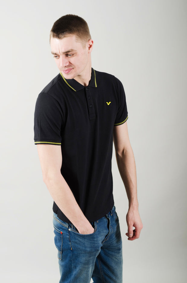 Cable Contrast Tipping Polo - Black