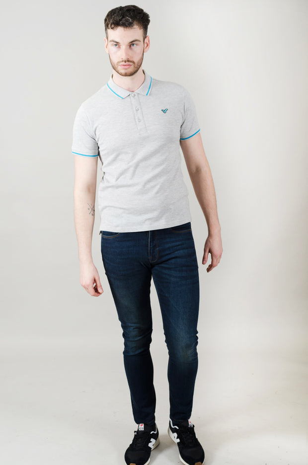 Cable Contrast Tipping Polo - Grey