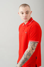 Cable Contrast Tipping Polo - Red