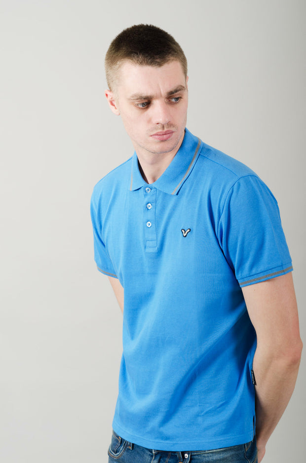 Cable Contrast Tipping Polo - Blue