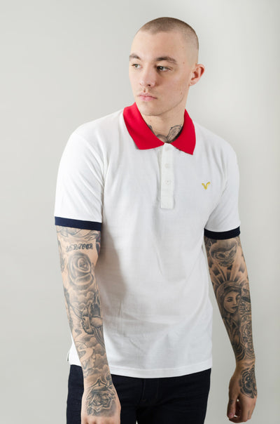 React Contrast Collar Polo - White