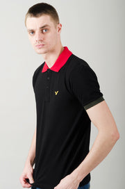 React Contrast Collar Polo - Black