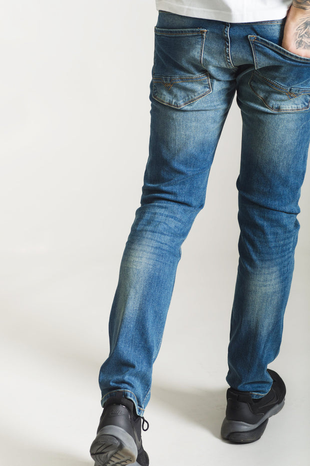 HJ 8560 Tapered Stretch Jeans - Mid Wash