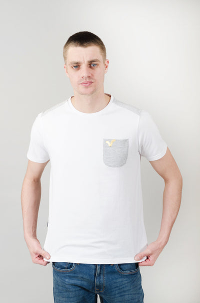 Valley Cut & Sew Tee - White/Grey