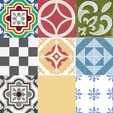 FloorAdorn® Assorted Tile Vinyl Appliqués