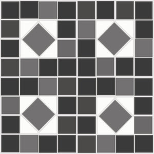 FloorAdorn® Black and White Mosaic Vinyl Appliqués