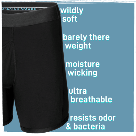 The best black boxer brief men's underwear you can buy, made of comfortable modal with a horizontal fly.