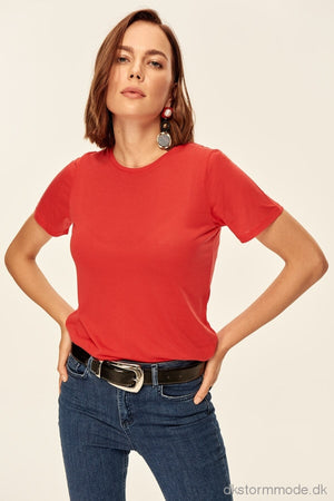 Basic - Red Neck Knitted T-Shirts Tofss18Tf0075