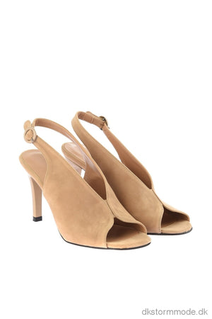 Beige Suede Womens High-Heeled Shoes Takss19Ga0033 Shoes
